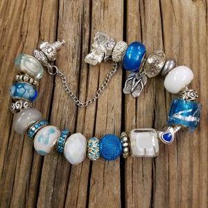 Nwot Blue European glass Murano bracelet